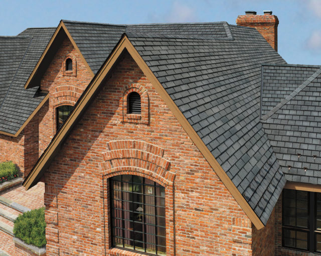 designer luxury shingles on brick home