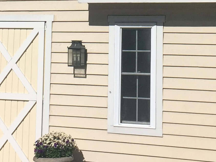 tan siding and window