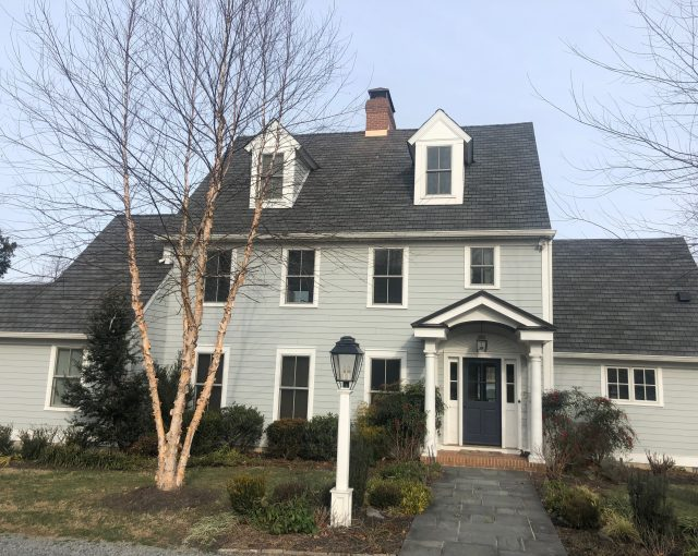 Light gray shingles installed on a residential home in Maryland