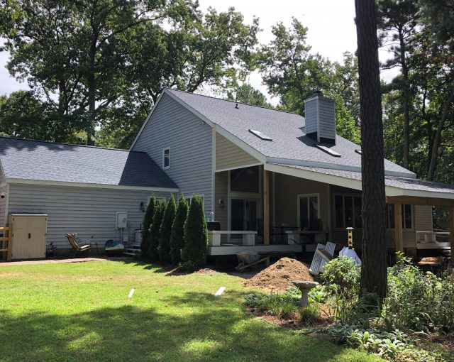 Asphalt shingle installation on a residential house